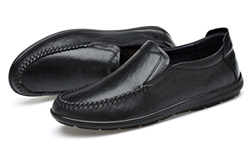 Shoes TDA Walking Leather Stitching Casual Loafers Black Men's On Driving Slip Hiking Penny fPqAafUw