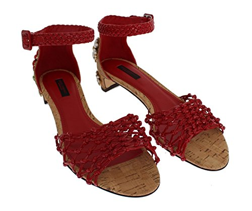 Dolce & Gabbana Red Leather Crystal Ankle Strap Shoes XAnbl