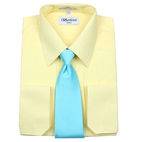 (Berlioni Men's Long Sleeve Dress Shirt Tie and Hanky Gift Set)