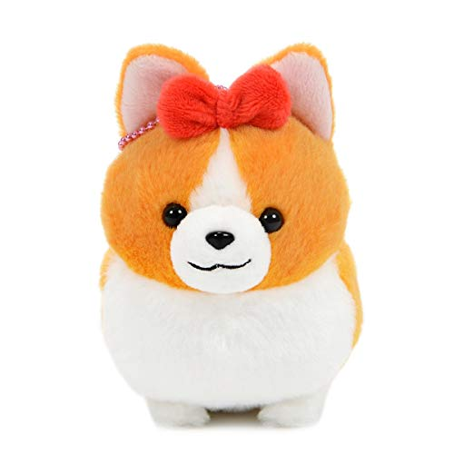 (Amuse Corgi Plush Doll Ichi Ni no Dog Corgi Stuffed Animal Happy Hana-chan White Ball Chain Size Plushie 4 Inches)