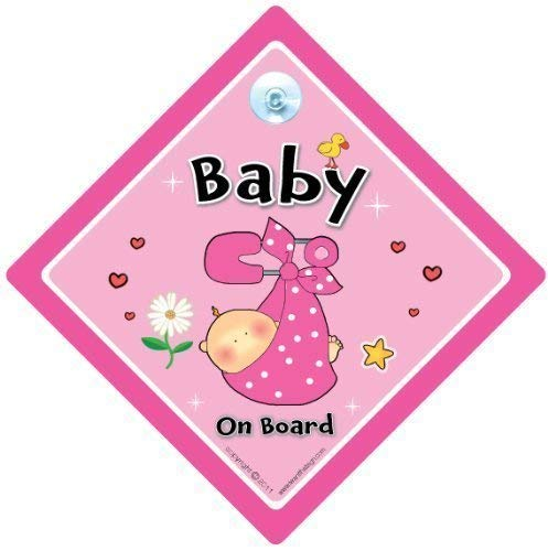 Baby On Board PINK Safety Pin Sign baby on board Baby on Board Sign Baby On Board Novelty Car Sign