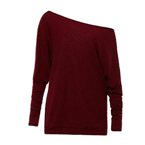 Longue 2017 Shirt Shirt Top AHOOME Automne Sexy Bateau Chandail Hiver Manche Rouge Col Pull Vin T Tricot Casual Sweater Femme vwqwtAT
