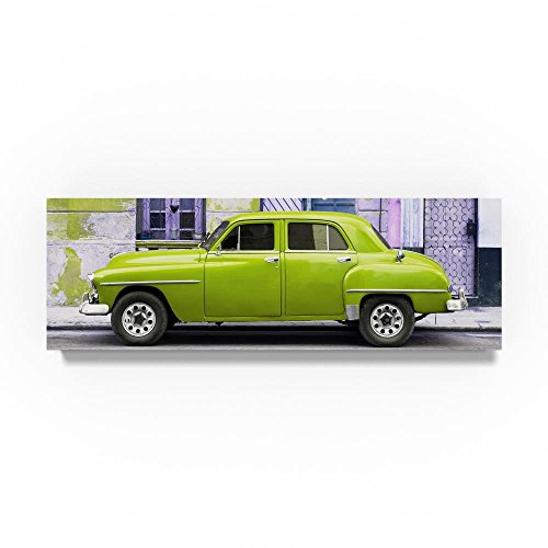 Lime Green Classic American Car by Philippe Hugonnard, 8x24-Inch Canvas Wall Art (American Classic Lime Green)