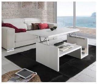 Mesa de Centro elevable de 110x60 cm en Color Fresno Blanco ...