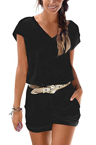 Jusfitsu Womens Rompers and Jumpsuits Dressy Black for Summer Short Sleeve with Pockets Short Pant Rompers Playsuit Black M from Jusfitsu