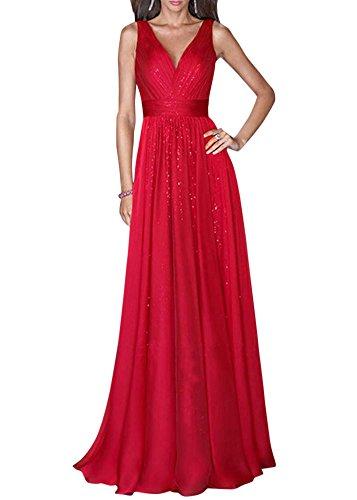 Mujer Elegante Sin Mangas V Cuello Largos Vestidos De Cóctel Noche Fiesta Boda Gala Ceremonia Rojo