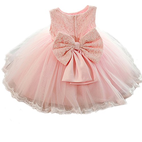 SZYL Baby Girls Lace Baptism Flower Dress Wedding Pegeant Tutu (12-24 Months, pink)