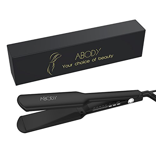 Abody Hair Straightener Flat Iron - 1.75 Inch Professional Hair Iron Ionic Ceramic Straightening Iron for All Hair Types with Instant Heat Up, Adjustable (Flat Iron Curly Hair)