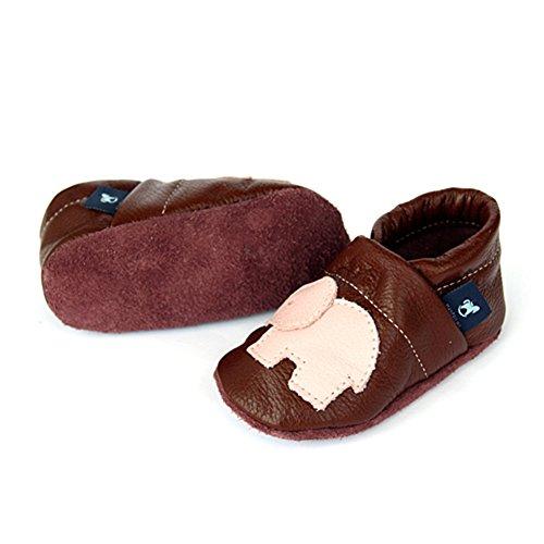 pantau.eu Lederpuschen Leder Hauschuhe Puschen Pantoffeln Schluffen Patschen Schlappen mit Elefant, Größen 36-45 BRAUN_ROSA