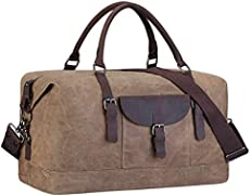 22f3a5997d36 S-ZONE Oversized Travel Duffel Tote Bag Waterproof Waxed Canvas Genuine  Leather Weekend Bag Carryon Overnight Weekender Handbag (Khaki)