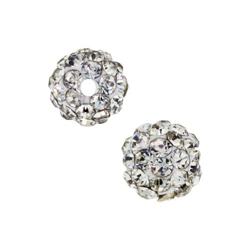 Beadelle Crystal Candy 6mm Round Pave Clay Beads Crystal (2 Pcs) - Pave Candy