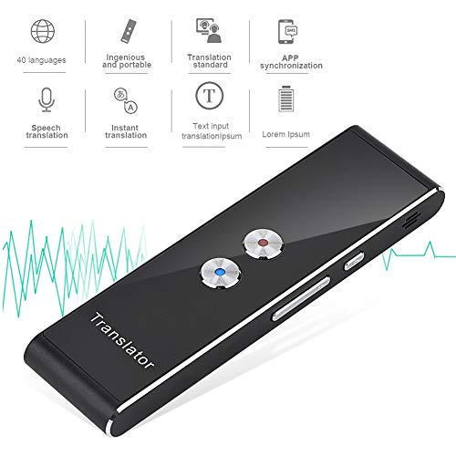 Oumij Portable Translator,Bluetooth 2.4G Smart Pocket Interpreter Intelligent Real Time Speech Multilingual Translator Voice Translation Two-Way Real Time Intercom