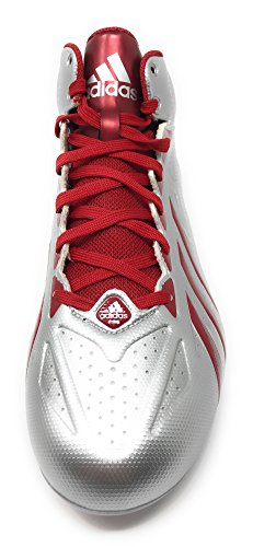 Adidas Men's Filthy Quick Mid Detach Football Cleats , Platinum|University Red, Size 11