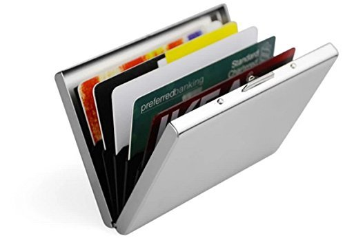 Joyoldelf Ultra Thin Aluminum Metal Wallets - RFID Blocking Credit Card Wallet Holder for Men & Women - Best Card Protector with 6 PVC Slots and Durable Stainless Steel (How To Make A Cigarette Holder)