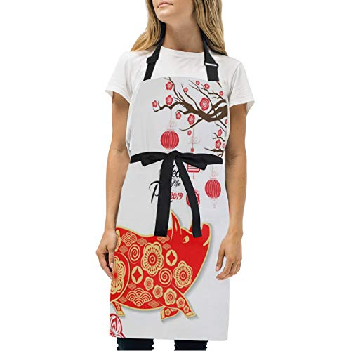 Leighhd Bevissd Happy New Year Charlie Brown Printed Funny Fashion Cooking Waterproof with Pockets Adjustable Apron Woman Men's Adult (Womens Charlie Hat Adjustable)