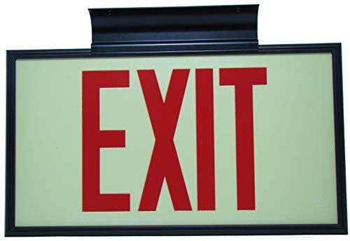 Glow in The Dark Emergency EXIT Signs. Non Electric UL Listed. Industrial Grade. Photo Luminescent. (75 Feet Red, Black Frame & Ceiling Mount)