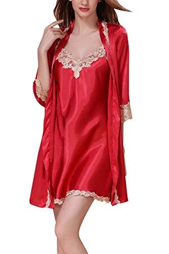 4PING Women's Sexy Pajama 2 Piece Silk Robe and Chemise Lingerie with Lace Pajamas Red2 M by 4PING