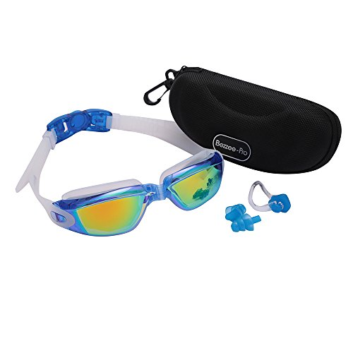 Adult Swim goggles Blue by Bezzee-Pro - Anti-Fog Coated Color Mirrored Lens with Silicone eye Cups, Leak Proof, Best Pool Glass for Swimming, With Quality Goggle Case, Nose Clip & Ear (Hats With Hair Attached)