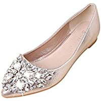 Womens Pointed Toe Ladise Shoes Casual Rhinestone Low Heel Flat by TOPUNDER