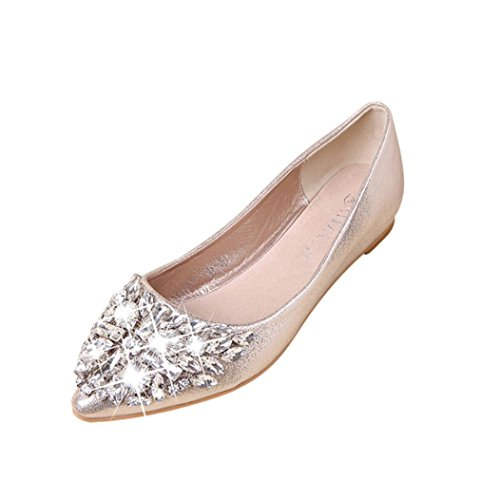 TOPUNDER Women's Pointed Toe Ladise Shoes Casual Rhinestone Low Heel Flat Gold