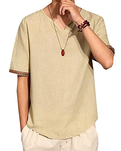 Aishang Men V Neck Ethnic Shirts Linen and Cotton Summer Beach Yoga Top Various