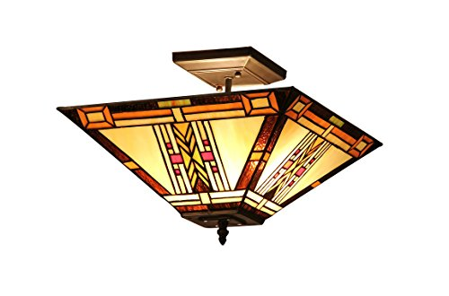 91MS14-UF2 Gode, Tiffany-Style Mission 2-Light Semi-Flush Ceiling Fixture, 14-Inch, Multi-colored (Mission Bronze Ceiling Fixture)
