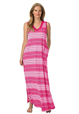 Dreams & Co. Women's Plus Size Full Sweep Trapeze Lounger Sweetberry Stripe,M - Full Sweep Gown