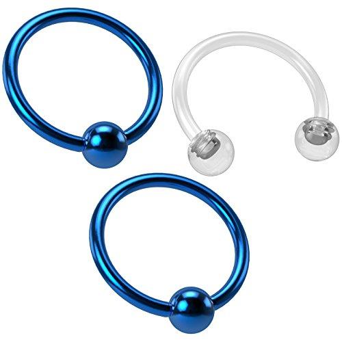 Bling Unique 2pc 18g Captive Ring Tragus Snake Bite Cartilage BCR Rook Septum Nose Helix Blue Eyebrow & Retainer ()