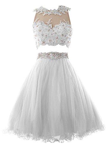 Kleid Elegant Stück Damen Beonddress Brautjungfer Cocktailkleid Spitzen Weiß Zwei Heimkehr Abendkleid Rundhals Schwarze qC1P5xaPwB