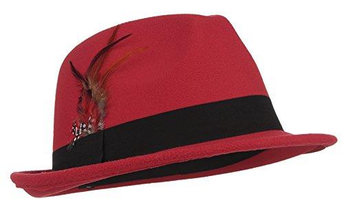Gemvie Men's Warm Woolen Crushable Feather Gangster Trilby Dent Fedora Hat -