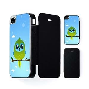Turquoise Parrot Carcasa Protectora Snap-On Negra en Formato Duro para Apple® iPhone 4 / 4s de DevilleArt + Se incluye un protector de pantalla transparente GRATIS
