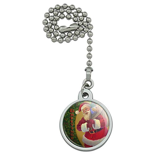 (GRAPHICS & MORE Christmas Holiday Greetings Santa Claus Holly Ceiling Fan and Light Pull Chain)