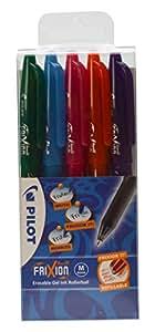 Pilot Frixion - Bolígrafos roller de tinta borrable (0,7 mm, 5 unidades), color naranja, azul, verde, morado y rosa