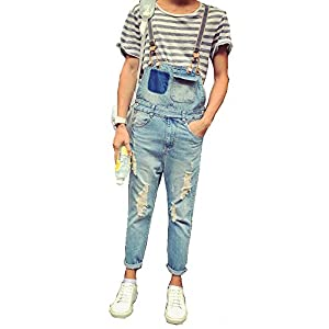 Denim Men's Summer Style Hole Ripped Crop Pockets Blue Overalls
