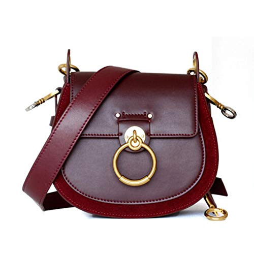 ACTLURE Women O Loop Small Leather Saddle Shaped crossbody Handbag Purse (Wine)