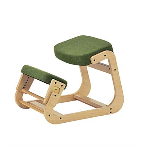 Kneeling Chairs Ergonomic Kneeling Chair | Back Support, Neck Pain & Spine Tension Relief | Posture Correcting Wooden Stool for Office & Home | Rocking Kneel Seat with Orthopedic Soft Knee Cushions