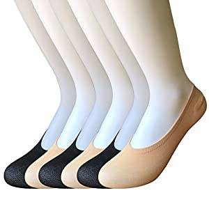 6 Pack Women's No Show Socks Non Slip Invisible Socks Thin Low Cut Liner Summer Socks for Flats Boat High Heels (Mulit-1)
