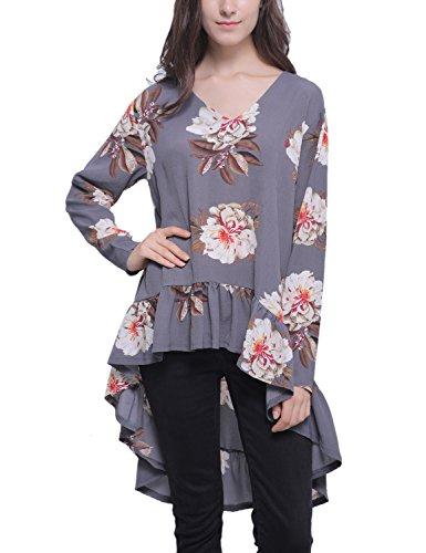 Volants Imprim Jelly Long Shirt Retour Ourlet Floral T irrgulire Long Gris Top Chemisier plisss Femmes Hi Haut Bas Asymtrique Blooming Low wzqdxaCa