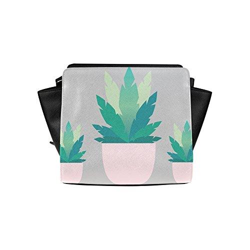 Meincare Women's Pastel Plant Pu Leather Satchel Bag