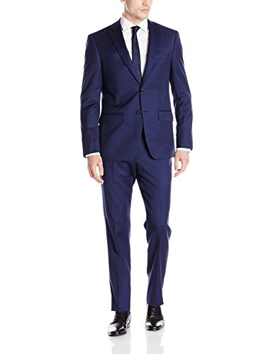 Wool 2 Button Single (DKNY Men's Dominic Single Breasted 100% Wool Two Button Notch Lapel Slim Fit Suit, New Blue, 36 Short)