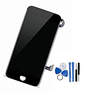 Yodoit For iPhone 7 LCD Display and Digitizer Assembly Glass Touch Screen Replacement with Frame Spare Parts (Front Camera, Sensor Flex, Shield plate, Earpiece Speaker) + Tool (4.7 inches Black) …