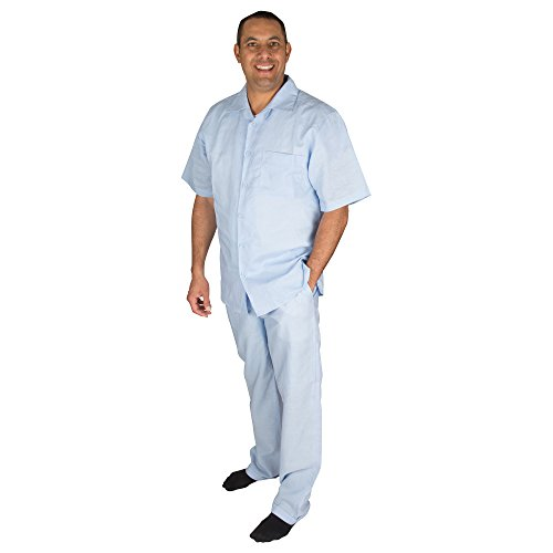 Vittorino Men's 100% Linen 2 Piece Walking Set with Long Pants and Short Sleeve Shirt, Light Blue, XXX-Large 44-33 ()