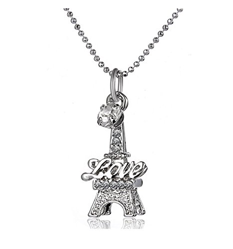 Love Paris Eiffel Tower Crystal Pendant Chain Charm Necklace - White Gold Plated