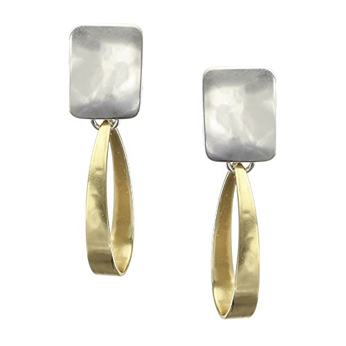 Marjorie Baer Rectangle with Long Loop Clip on Earring in Brass and Silver