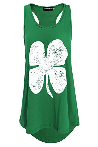 DREAGAL Lucky Three Leaf Clover St Patricks Day Womens Tank Top Green L (Day Day St Patricks)