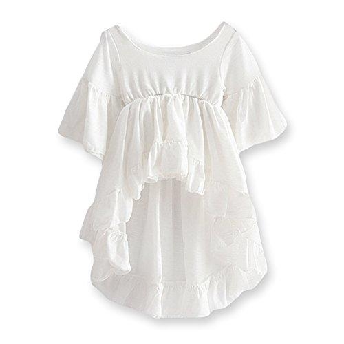 21KIDS Girls Loose Trumpet Sleeves Cotton Asymmetrical Flounces Boho Christmas Blouse Dress 3T-11
