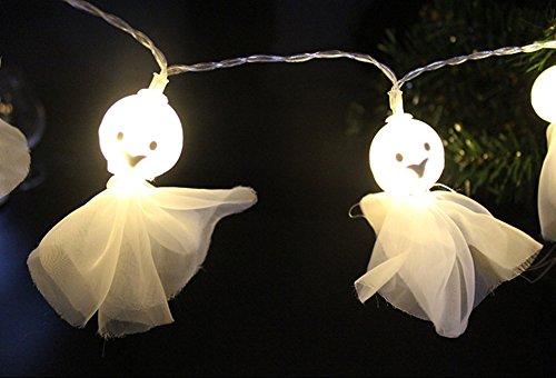 halloween lights ghost shape backyard solar string lights 20 LED lights decoration lamp for outdoor garden backyard (Light Up Ghost String Prop)