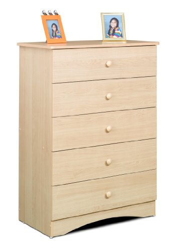 Alegria 5605 5-Drawer Chest from Nexera, Natural Maple Solid Maple Futon