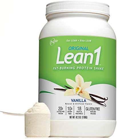 Lean 1 Vanilla Fat-Burning protein Shake by Nutrition 53, Lactose Gluten Free with Green Coffee Bean Extract, 23 Serving Tub – 42 Oz