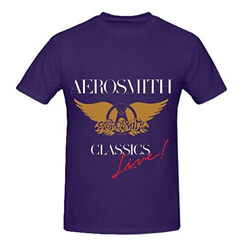 Aerosmith Classics Live Electronica Men O Neck Design Tee Purple